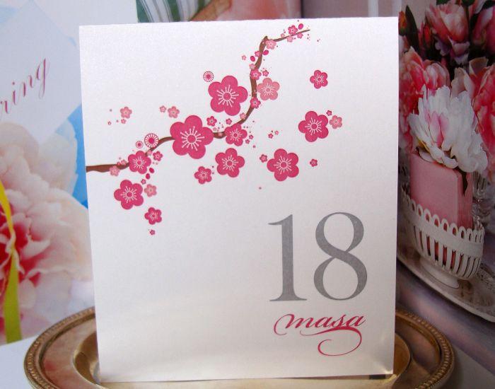 Numar masa nunta sau botez, design flori de cires