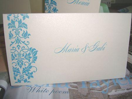 Plic de nunta cu design floral turcoaz - poza 2
