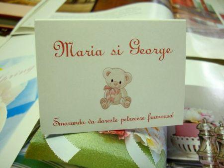 Card pentru masa botez cu ursulet roz - poza 2