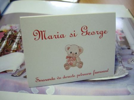 Card pentru masa botez cu ursulet roz - poza 1