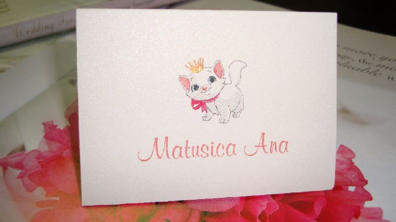 Card de masa pentru botez cu pisicuta - poza 1