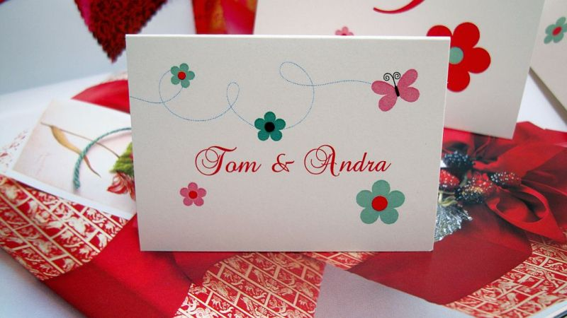 Card masa botez cu flori si fluturi - poza 1