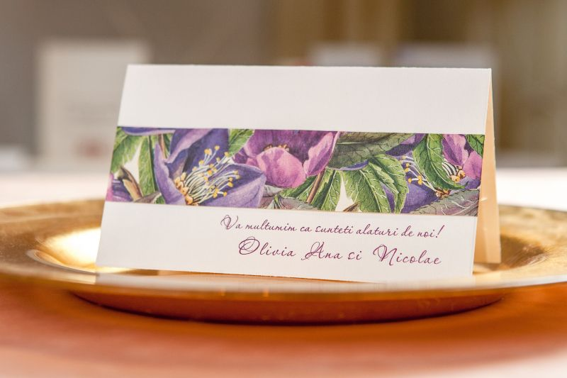 Card multumire nunta cu design floral mov - poza 1