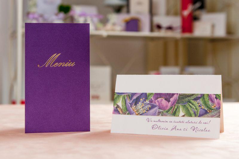 Card multumire nunta cu design floral mov - poza 2