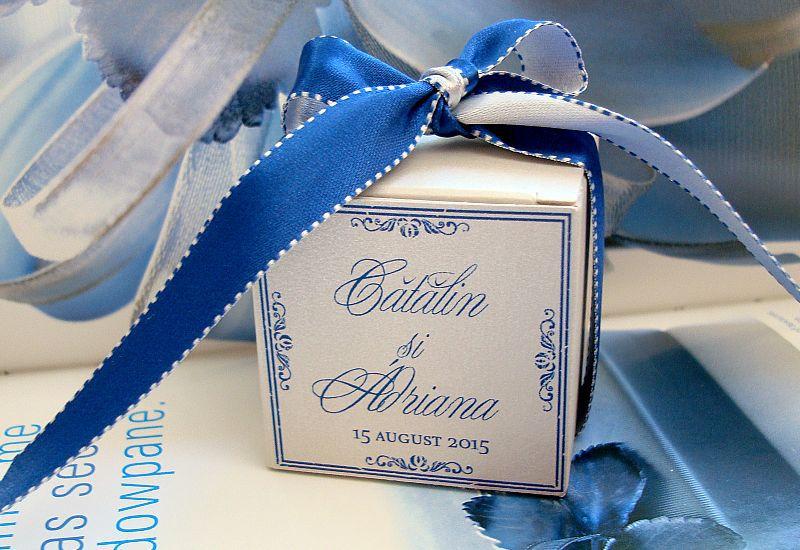 Cutie marturii argintie cu albastru - poza 1