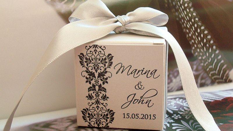Cutie pentru marturii nunta argintiu cu negru - poza 1