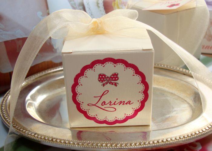 Cutiuta marturii nunta cu fundita roz - poza 2