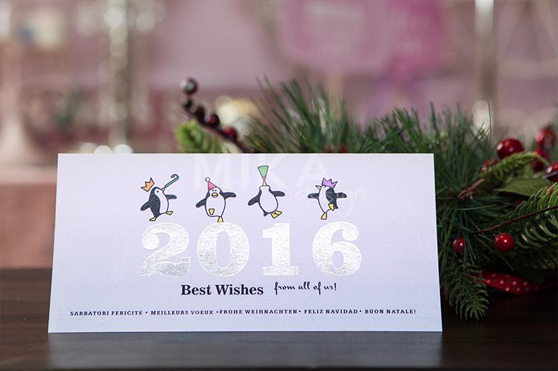 felicitare Craciun 2016 cu pinguini haiosi