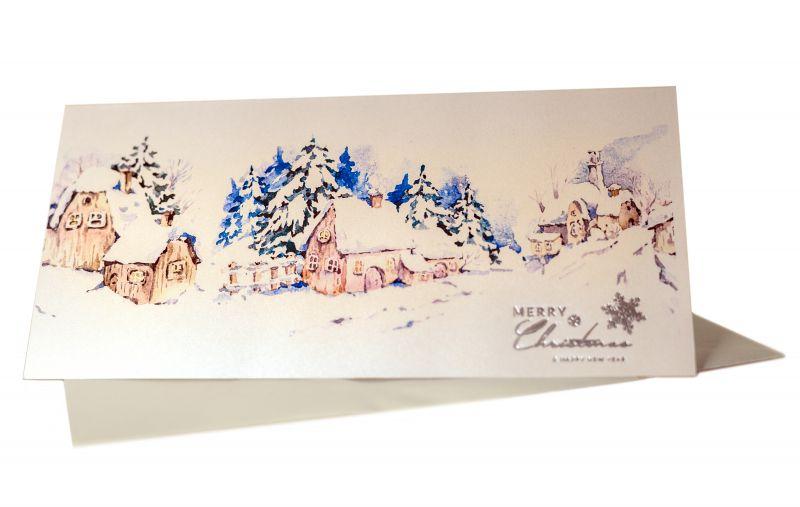 felicitare Craciun pitoreasca cu un peisaj superb de iarna