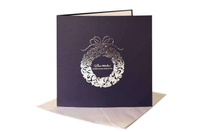 Felicitare de Craciun albastra cu coronita Craciun - poza 1