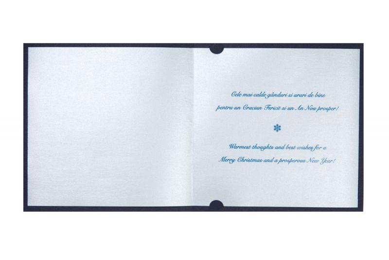 Felicitare de Craciun albastra cu urari argintii - poza 2