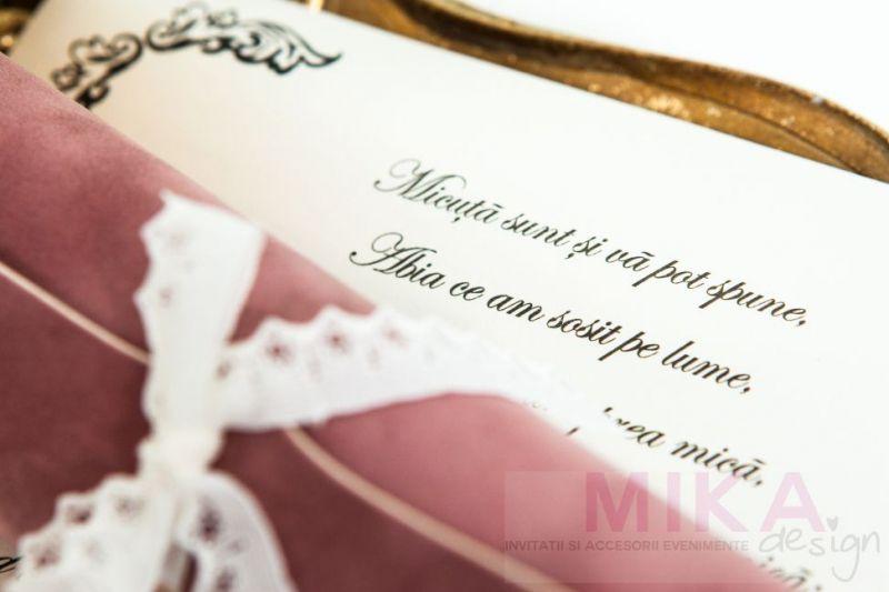 Invitatie scroll catifea cu dantela - poza 2
