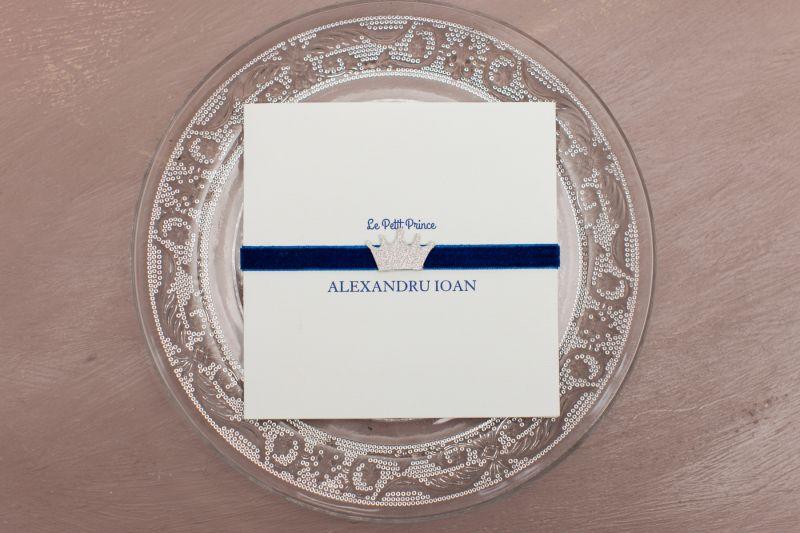 Invitatie botez cu plic catifea albastra - poza 2