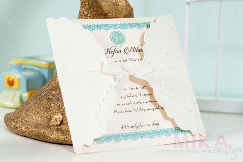 Invitatie botez design datela verde menta - poza 2