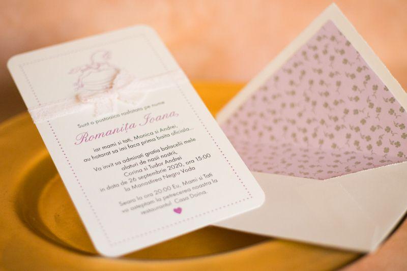 Invitatie botez fetita cu dantela - poza 2