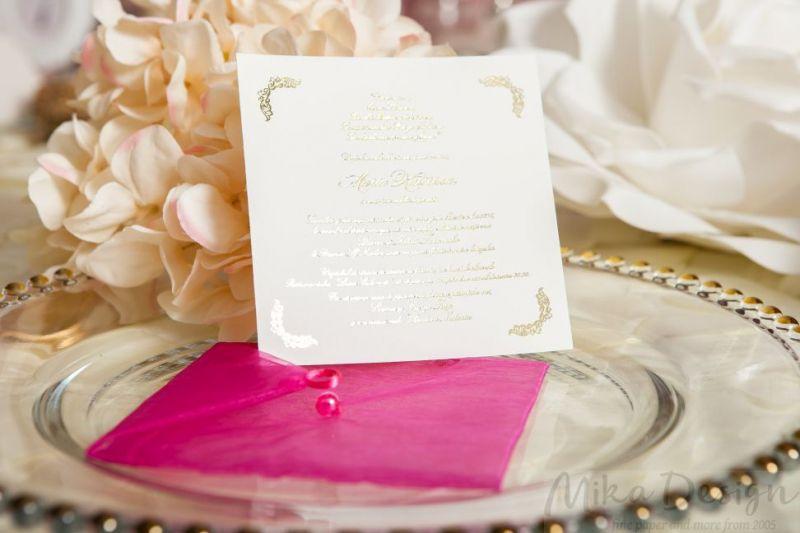 Invitatie botez fetita cu plic organza roz - poza 2