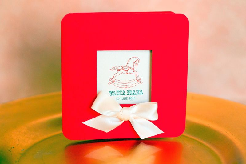 Invitatie botez rosie pentru fetita - poza 1