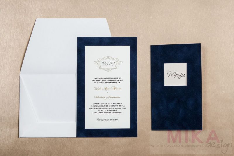 Invitatie catifea albastru cu auriu - poza 4
