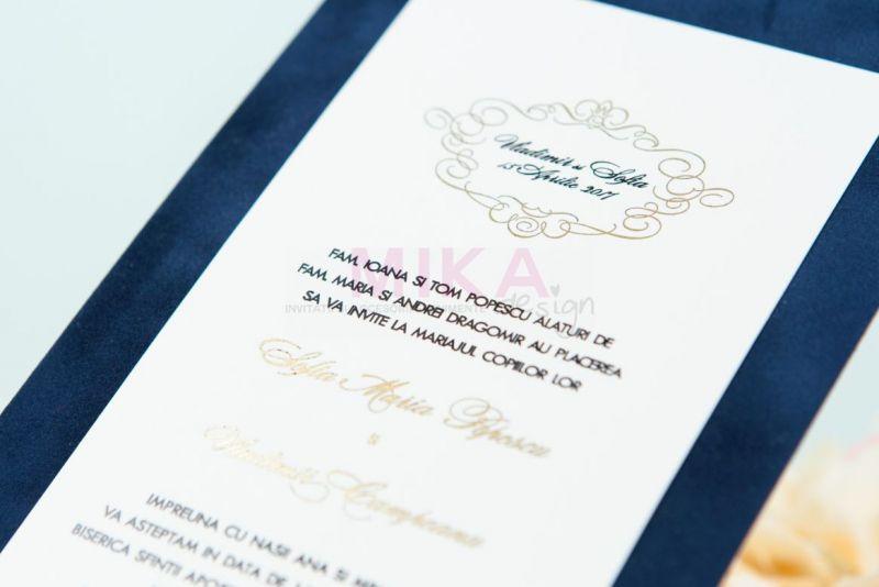 Invitatie catifea albastru cu auriu - poza 2