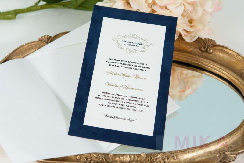 Invitatie catifea albastru cu auriu - poza 1