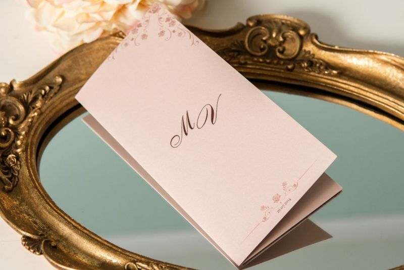 Invitatie de nunta crem nude cu trandafiri - poza 1