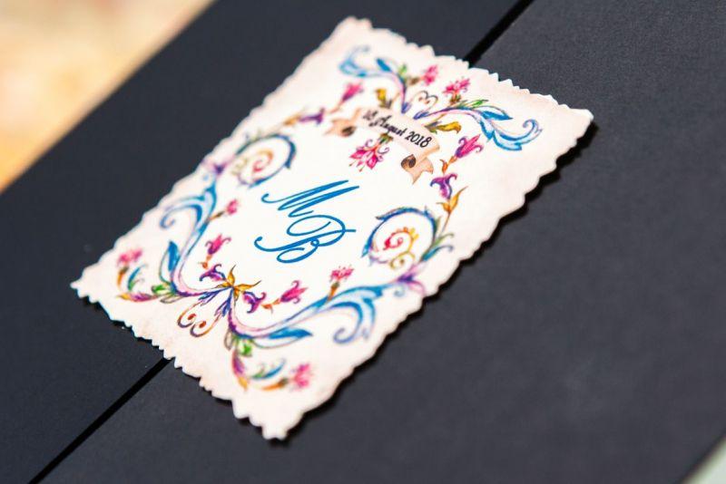 Invitatie nunta albastra cu eticheta personalizata - poza 2