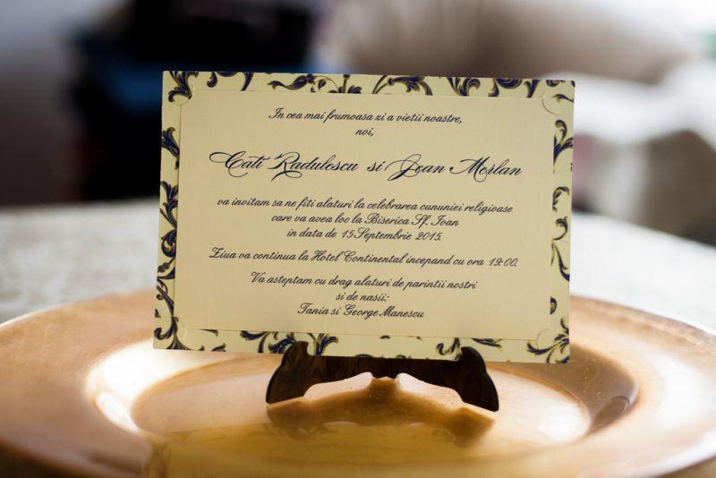 Invitatie nunta carte postala aurie - poza 1