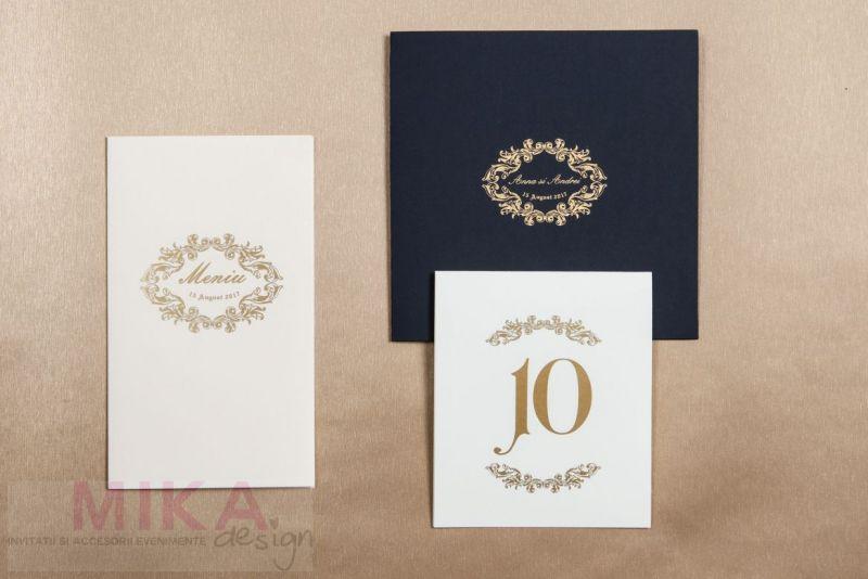 Invitatie nunta carton catifelat albastru - poza 3
