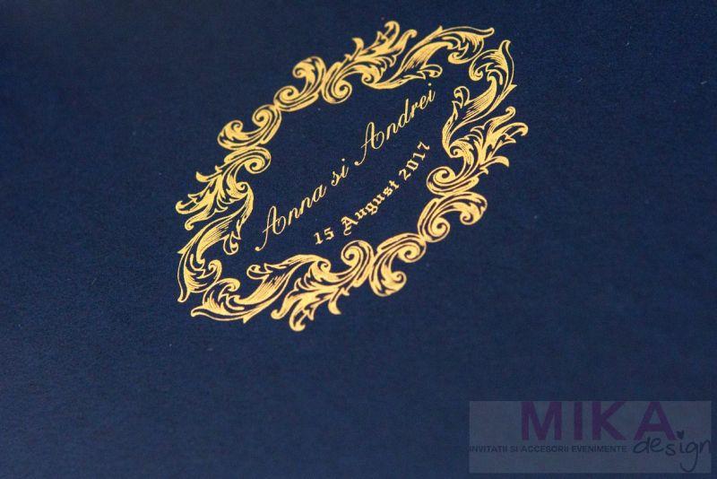 Invitatie nunta carton catifelat albastru - poza 4