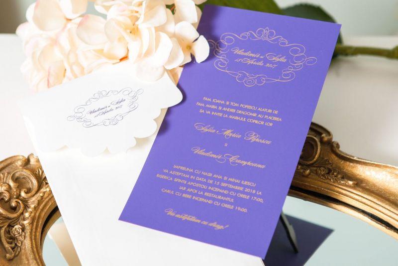 Invitatie nunta carton mov cu auriu - poza 2