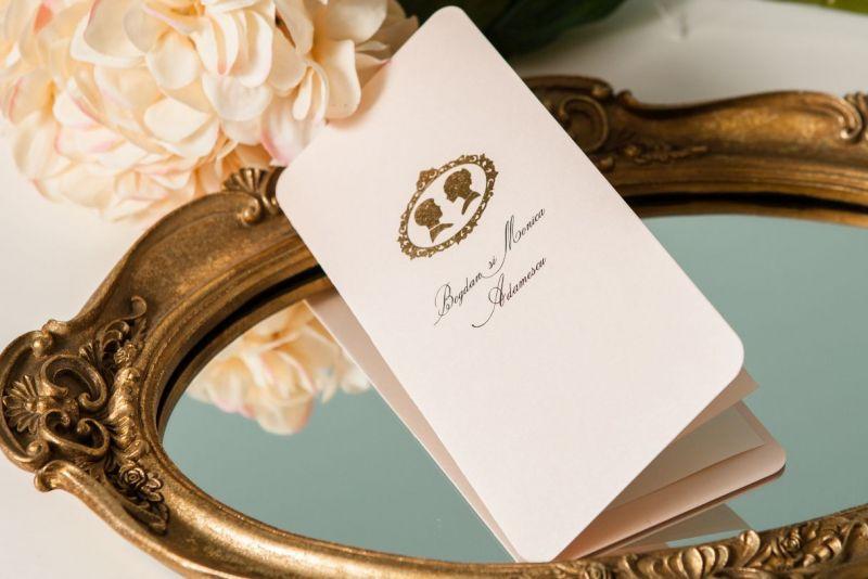 Invitatie nunta carton sidefat nude - poza 2