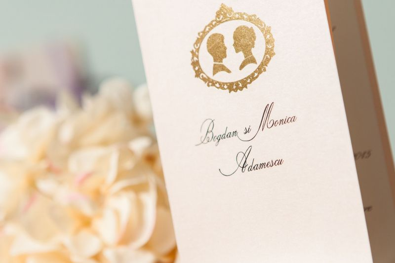 Invitatie nunta carton sidefat nude - poza 1