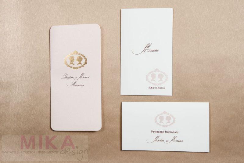 Invitatie nunta carton sidefat nude - poza 4