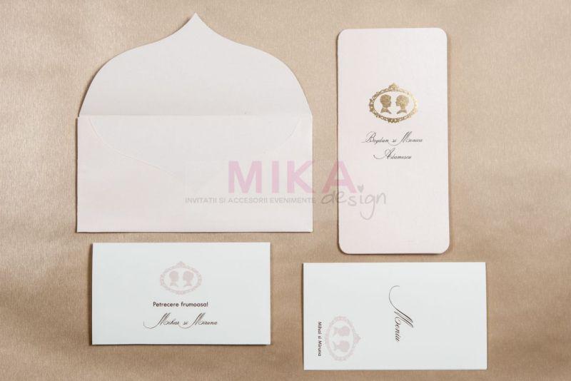 Invitatie nunta carton sidefat nude - poza 3