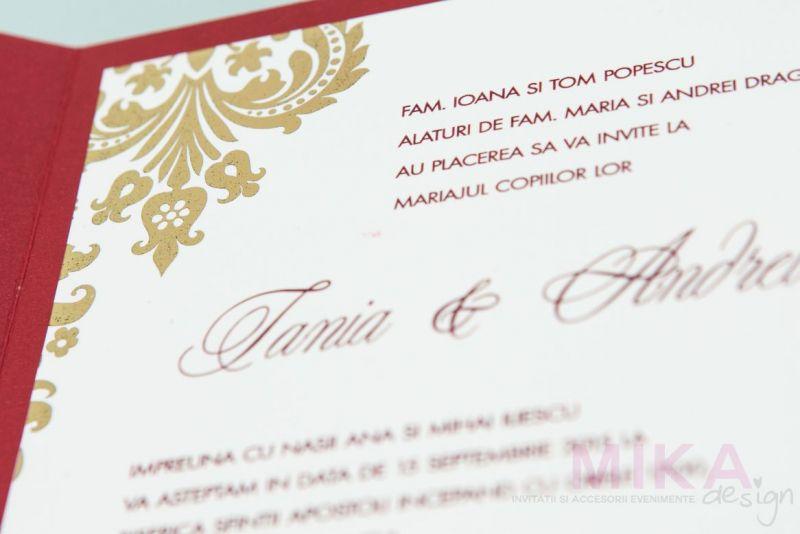 invitatie nunta clasica visiniu sidefat cu auriu