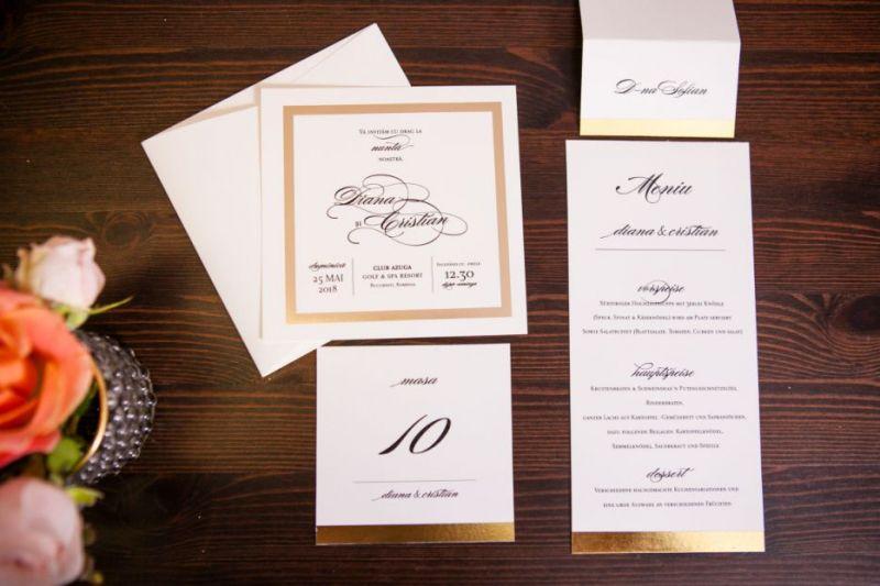 Invitatie nunta cu cadran auriu - poza 3