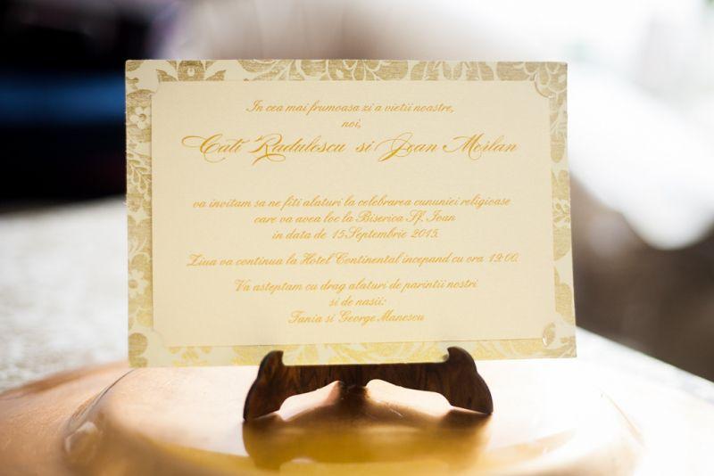 Invitatie nunta cu flori aurii vintage - poza 1