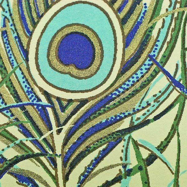 Invitatie nunta cu pene de paun stilizate, auriu si albastru - poza 2