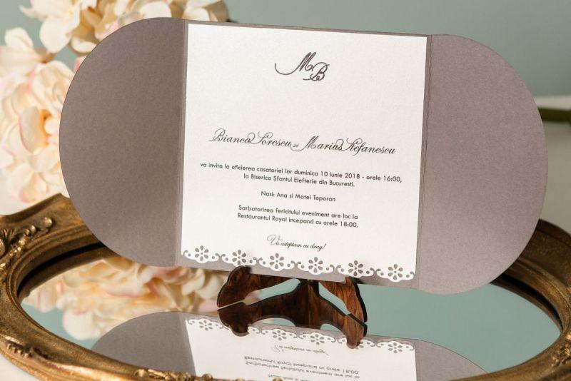 Invitatie nunta cu sigiliu trandafir ivoire - poza 3