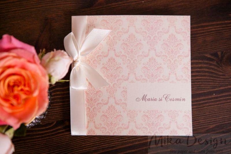 Invitatie nunta damasc rose - poza 1