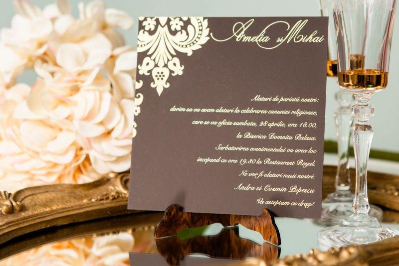Invitatie nunta damask auriu - poza 4