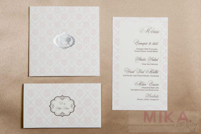 Invitatie nunta damask roz pal - poza 2