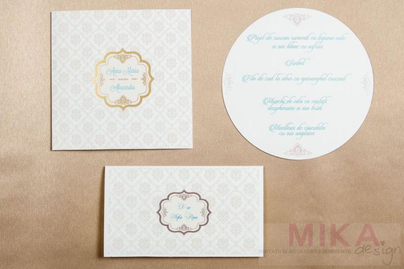 Invitatie nunta delicata cu fundal damask crem - poza 4