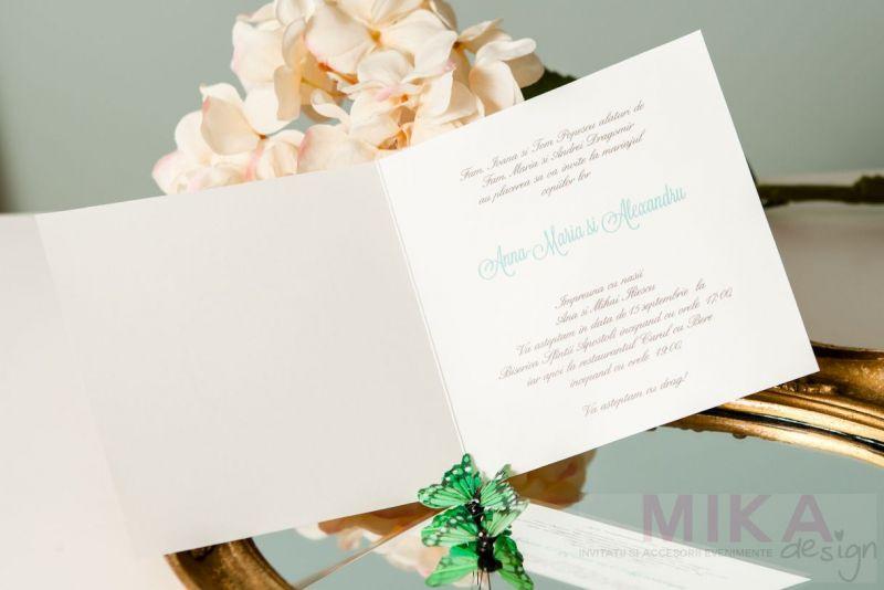 Invitatie nunta delicata cu fundal damask crem - poza 3