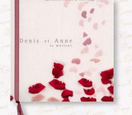 Invitatie nunta cu petale de trandafiri rosii - poza 1