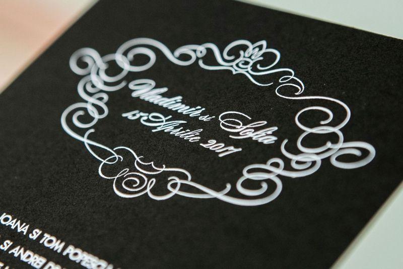 Invitatie nunta eleganta alb-negru - poza 1