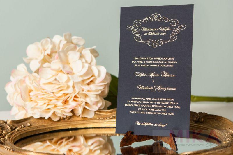 Invitatie nunta eleganta alb-negru - poza 5