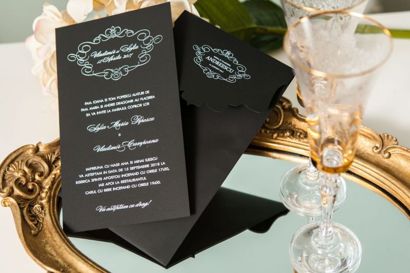 Invitatie nunta eleganta alb-negru - poza 3