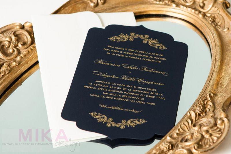 Invitatie nunta eleganta albastru cu auriu - poza 2