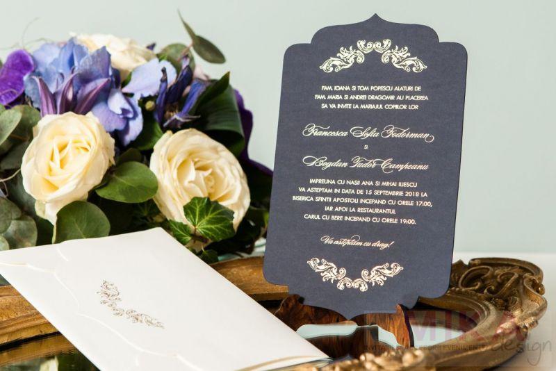 Invitatie nunta eleganta albastru cu auriu - poza 4